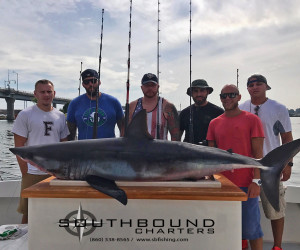 Mako shark fishing aboard Southbound Charters out of Waterford CT